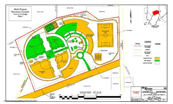 A diagram of the future multipurpose recreation complex.