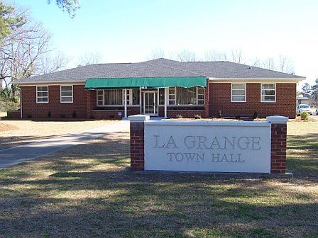 A front view of the La Grange Town Hall.