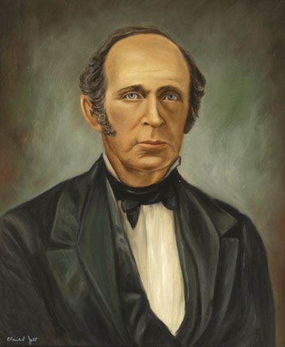 A painting of Matthew Moseley, an older white man in a black suit with white shirt.