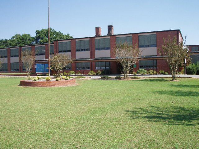 A street view of E.B. Frink Middle School.
